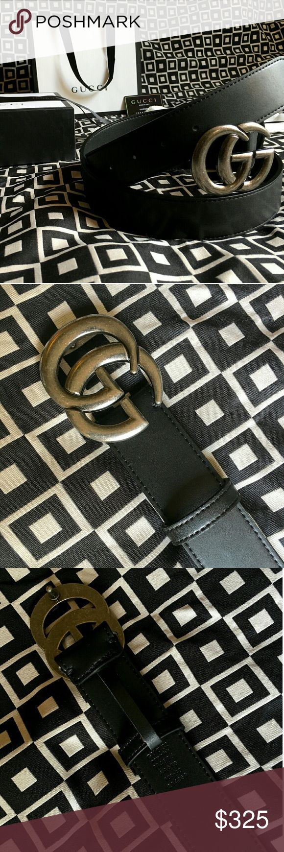 GUCCI GG BELT!!! Gucci GG Belt W/ Antique Silver Double G Buckle!!!  Brand New!!!  Unisex...For Man Or Woman!!!  Size Available - 34, 36, 38, 40, 42!!!  Includes Gucci Belt, Gift Box, Dust Bag, Ribbon, Etc!!!  Great Gift Idea!!!  Last Available!!!  Check My Listings For Other Great Items!!!             Ignore: Gucci gg monogram casual dress belts men's women's guccissma leather monogram web tiger bee embossed panther wool cable knit blooms supreme print angry cat ufo dragon studded snake…