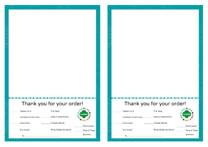 Printable Girl Scout Cookies Thank You Notes