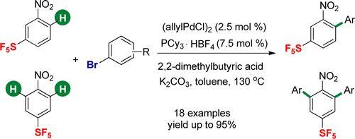 Pd-Catalyzed Direct Arylation of Nitro(pentafluorosulfanyl)benzenes with Aryl Bromides