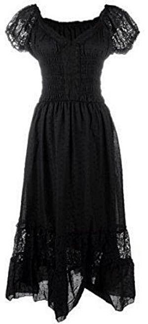 Boho inspired black cap sleeve lace trim dress  <3