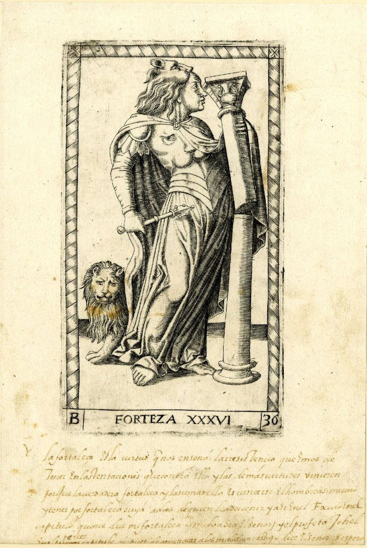 36 WL female figure in profile to r with a broken pillar, a lion and a lion's skin on her head; after the so-called Tarocchi Cards of Mantegna.  Engraving