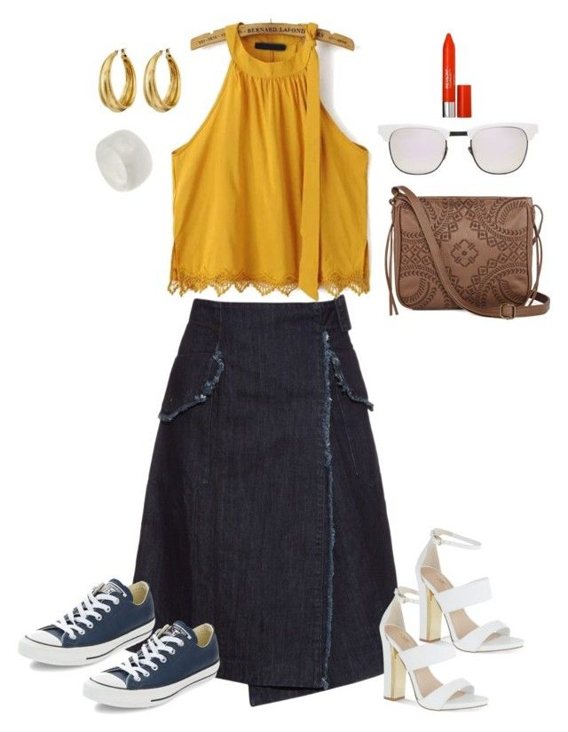 """""""Off-The-Shoulder - Casual"""" by whatsmystyle on Polyvore featuring Lucky Brand, T-shirt & Jeans, Westward Leaning, Revlon, Tomas Maier, Converse, Carvela and Dinosaur Designs"""