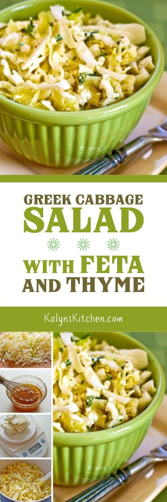 This delicious Greek Cabbage Salad with Feta and Thyme is tasty any time of year, and this salad is low-carb, gluten-free, and South Beach Diet Phase One. [found on KalynsKitchen.com]