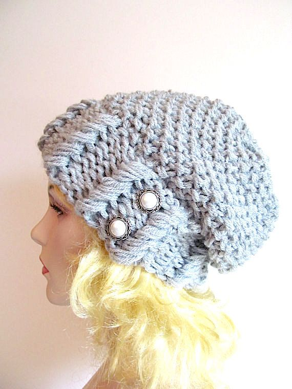 Grey Slouchy Hipster Beanie Slouch Hats Baggy Beret Pearl