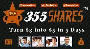 """355SHARES"" iti propune o afacere inedita,cu doar o investitie de 3$ in 5 zile poti obtine 5$.Accesezi link-ul, completezi datele care se cer,si-ncepi sa castigi: http://www.355Shares.com/?ref=eduard  Pentru a intelege mai bine urmareste clipul video: https://youtu.be/tqGrsrlHtGw"