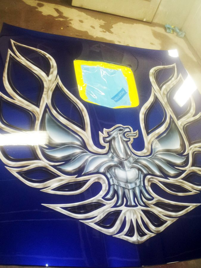 Custom Painted 79' Trans Am Hood with Bird that is Chrome ...