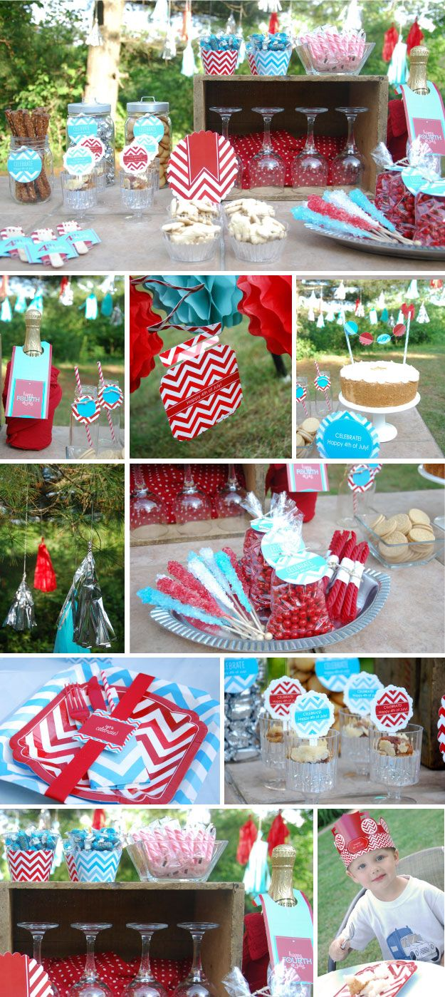 Fourth of july party ideas red and blue chevron from for 4th of july party decoration