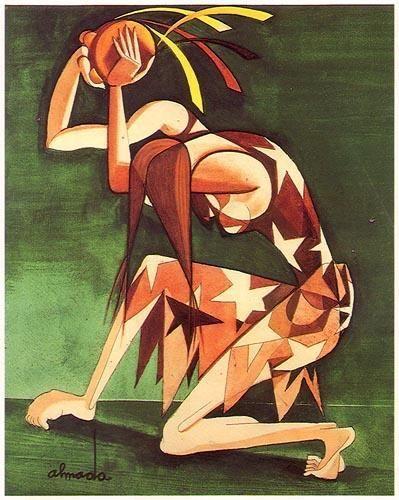 « Figura de mulher com pandeireta »  Guache sobre papel,1938  José de Almada Negreiros (1873 - 1970 )