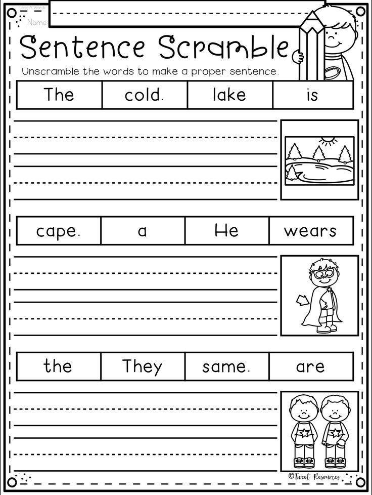 Pin By Rachel Janzen On Kid Activities Sentences Kindergarten Kindergarten Writing Writing Sentences Worksheets