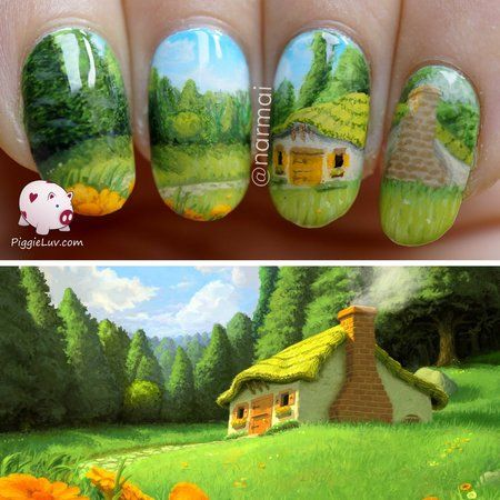 Little cabin in the clearing, freehand nail art #nailart #prettynails #greenmani - bellashoot.com