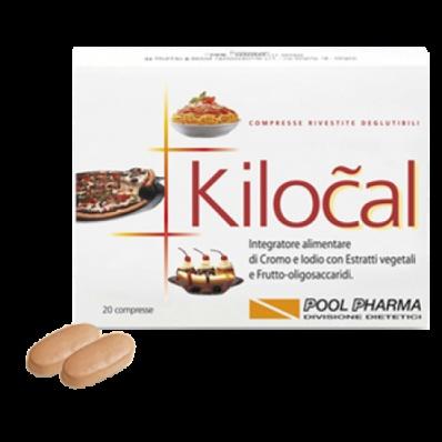 KILOCAL COMPRESSE  KILOCAL è un integratore alimentare di Cromo, Iodio, Gambo d'Ananas, con benefici Estratti vegetali e con  Frutto-oligosaccaridi, utile coadiuvante nelle diete ipocaloriche.  Il Cromo e lo Iodio intervengono rispettivamente nel metabolismo degli zuccheri e dei grassi