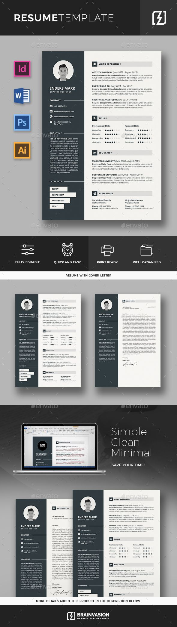 Resume Template #creative cv #modern resume  • Download here → https://graphicriver.net/item/resume-template/20593486?ref=pxcr