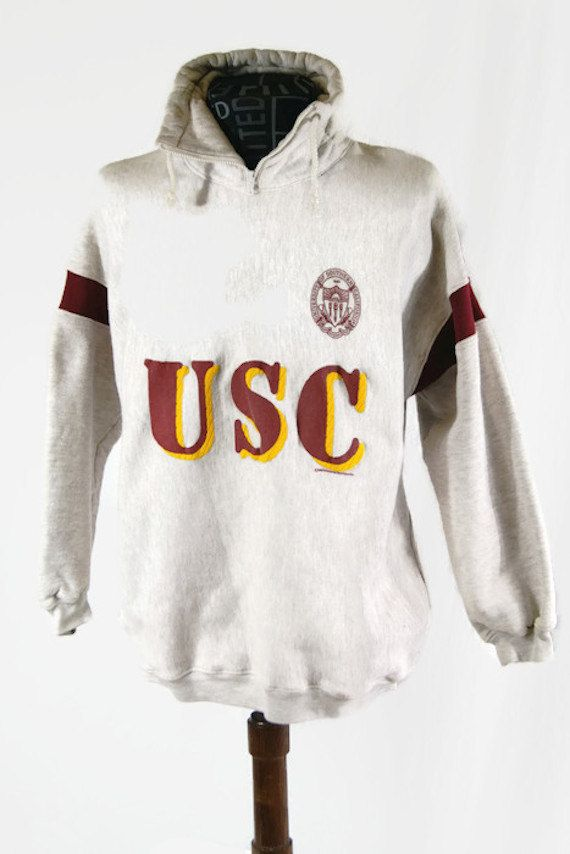 Vintage 1989 USC Sweater Hoodie University of Southern California Long Sleeve Gray by Wideworld Sportswear Sweatshirt Made in USA by ANTIGOs on Etsy