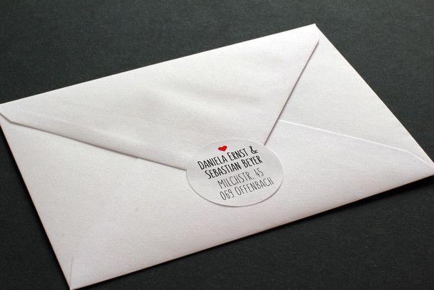 Adressaufkleber - 72 Adressaufkleber für Hochzeitskarte :: 40 mm - ein Designerstück von Stempel-Rabe bei DaWanda