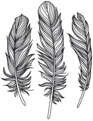 A trio of wispy feathers creates a naturally beautiful look. Downloads as a PDF. Use pattern transfer paper to trace design for hand-stitching.