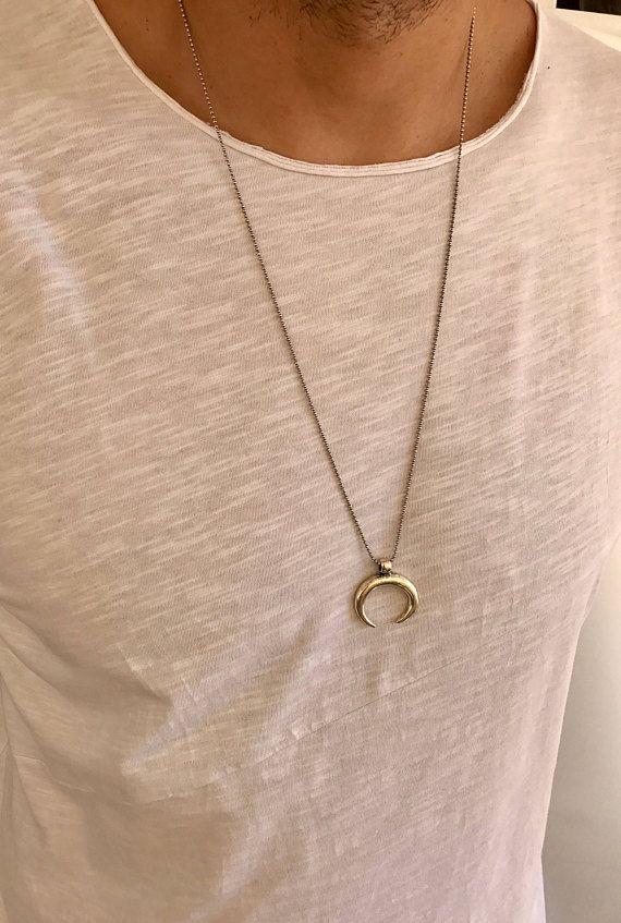 Men's Horn Necklace, Men's Necklace, Silver Horn Pendant, Jewelry For Men, Mens Gift.