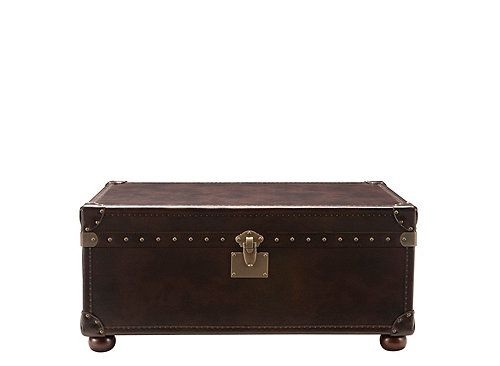 This Gregg leather coffee table and storage trunk approaches transitional furniture with a fresh eye. Ensuring success in almost any decorating scheme, its unique styling pairs the convenience of a coffee table and trunk storage with timeless design elements, like luxe bonded leather and elegant nailhead trim.