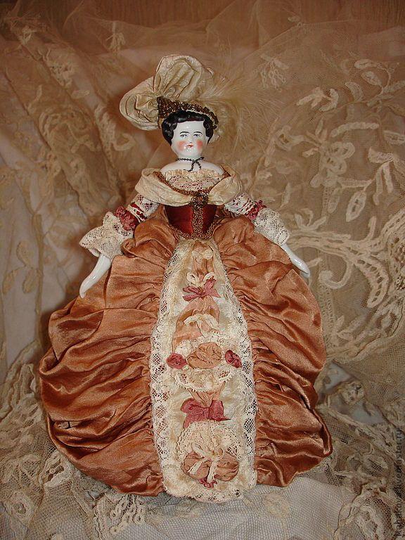 Купить Беатриса - коллекционная кукла, антикварный фарфор, антиквариат, шелк, текстиль, антикварные кружева