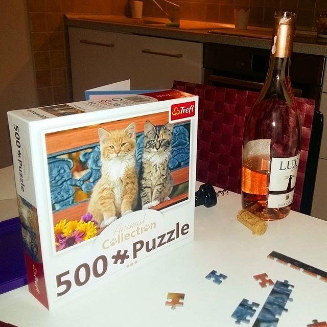 Dzień Kota 😻#catsofinstagram #puzzles #wine #goodday