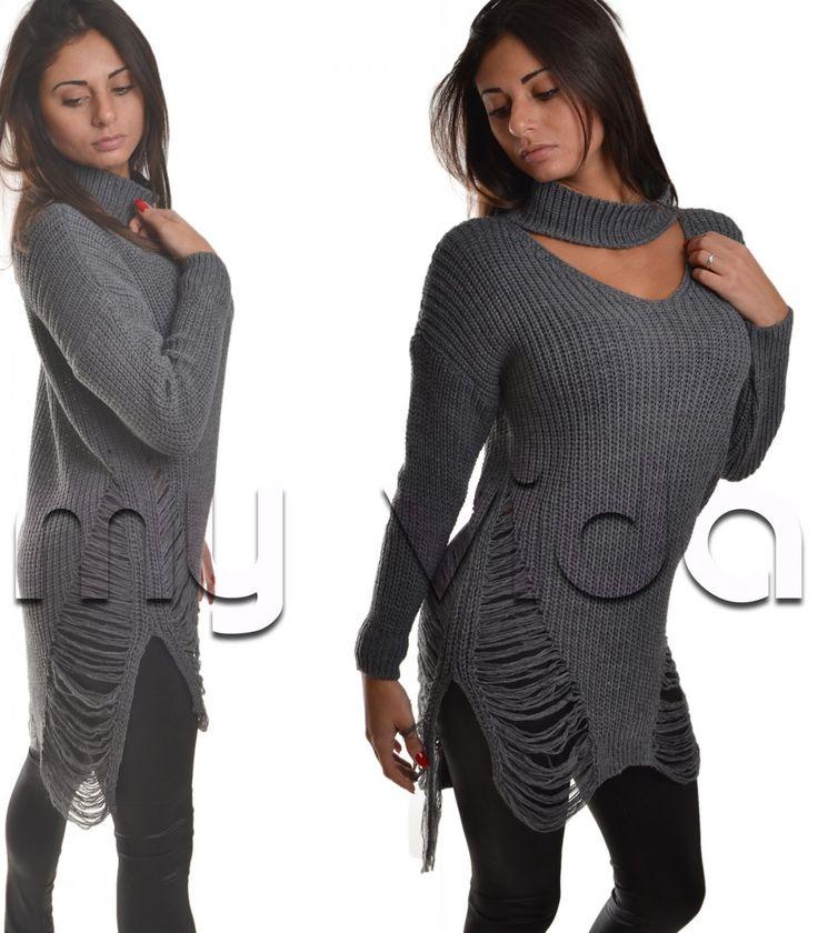 Collezione maglioni lunghi donna maglieria inverno colletto | My Vida