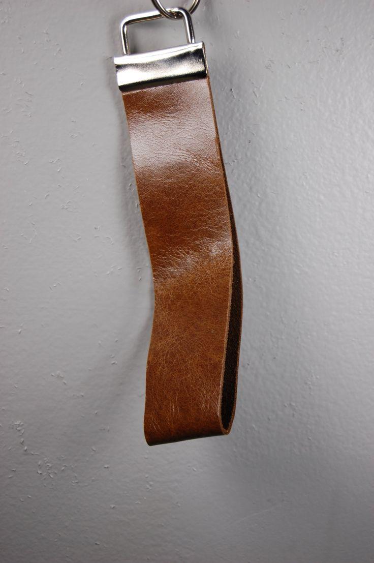 Gloss Cognac Leather Wristlet Keychain by BerkeandBradyJo on Etsy