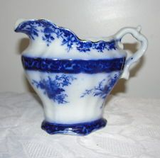 Flow Blue China Milk Pitcher Stanley Pottery Company ENGLAND - Touraine Pattern