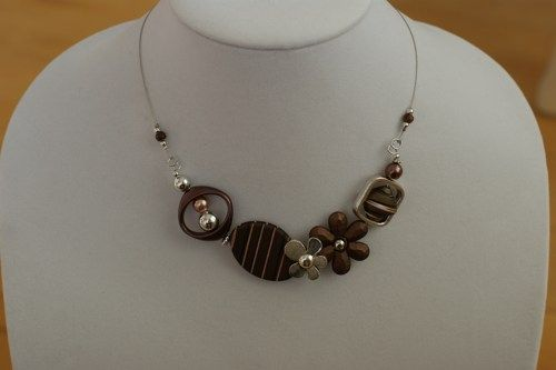 Brown necklace, Asymmetric  necklace, Brown modern necklace,