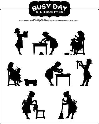 Busy Day Silhouettes: Free PDF Image | Just Something I Made. I want to use these for a cleaning schedule.