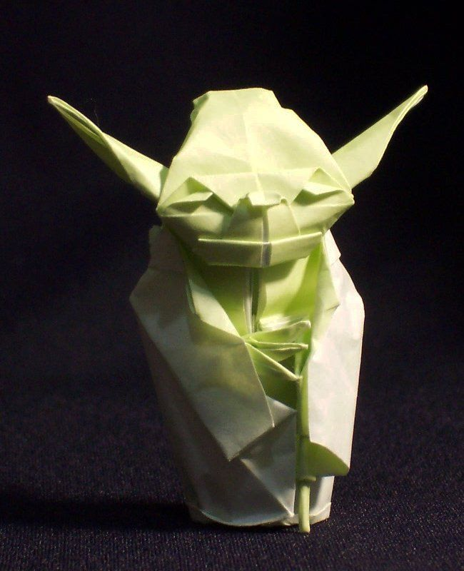 "Peter Engel- an Origami Model of Yoda from ""Star Wars"". I like how detailed the face looks and how complex and how much it looks like him."