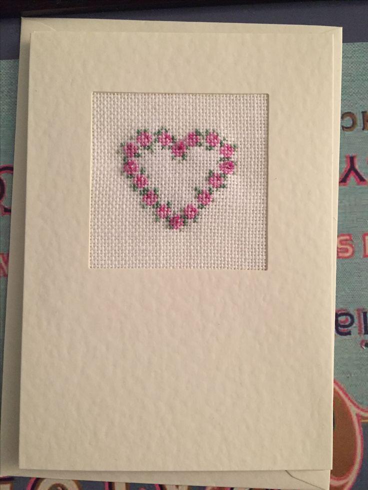 Pink rose heart cross stitch card