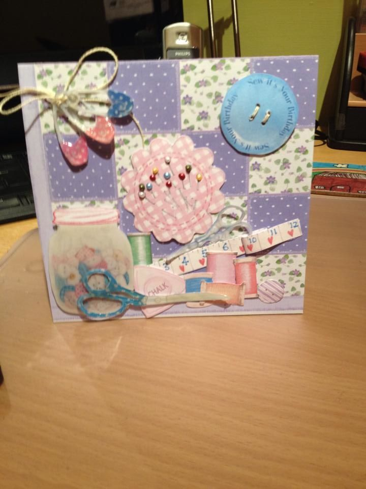 A card for a work colleague, using Grandma's sewing box CD