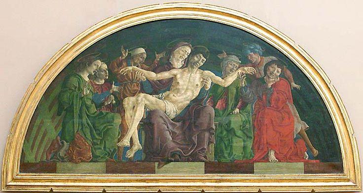 """COSME TURA: """"Pietá"""". Óleo sobre tabla. Tura es el pintor de la corte de los duques de Ferrara. Influido por Della Francesca, usa un color asimismo que se acerca al arte de los maestros flamencos."""