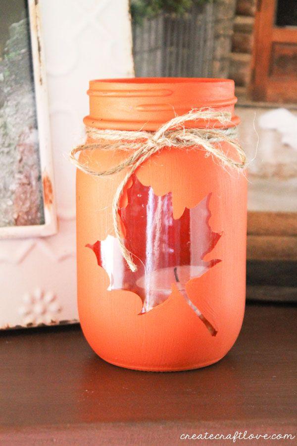 Painted Maple Leaf Mason Jar Candle