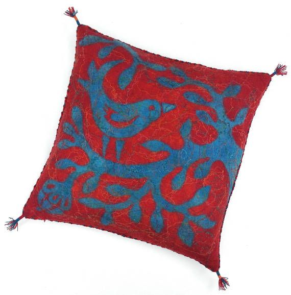 Felted cushion cover red and blue with bird 50 x 50 cm