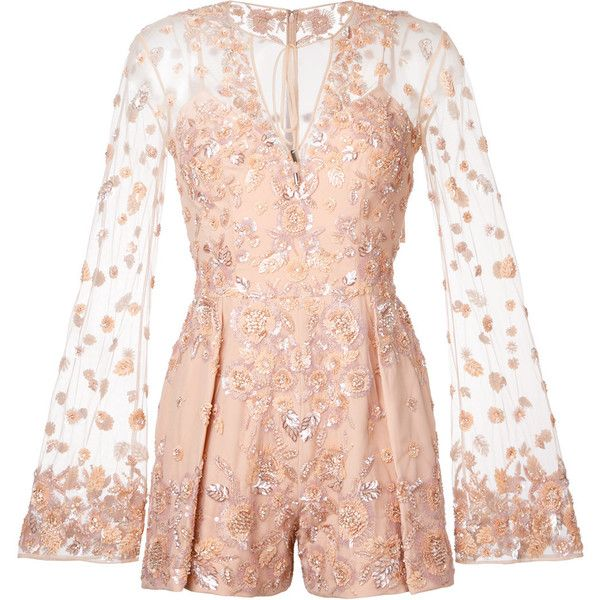 Zuhair Murad embellished romper (£7,710) ❤ liked on Polyvore featuring jumpsuits, rompers, dresses, playsuit, bodysuit, nude, playsuit romper, playsuit jumpsuit, pink rompers and pink romper