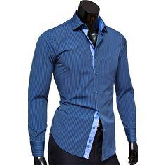 Рубашка Venturo приталенная цвет синий в полоску