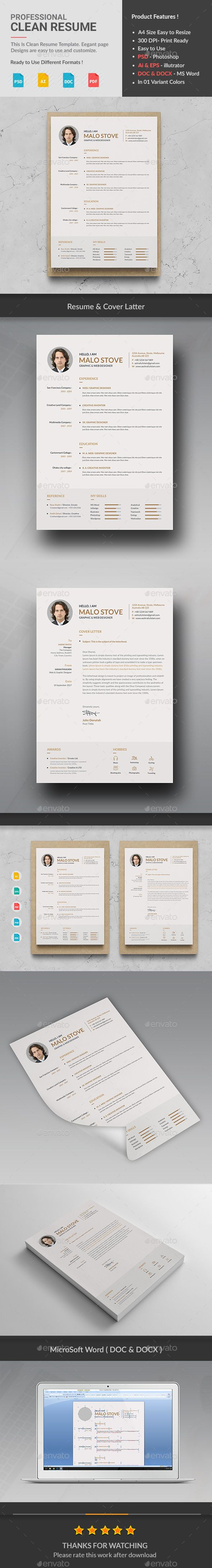 Clean ResumeCv by Createart Features of Resume