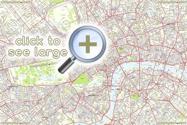 free detailed central london streets roads urban parks attractionss London Top tourist attractions map