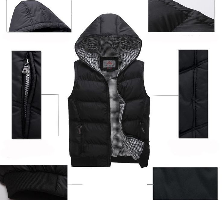 Мужские теплые зимние на открытом воздухе с подкладкой жилет досуг пуховый жилет пальто куртки с капюшоном