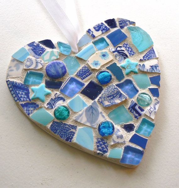 Blue China Mosaic Heart Pique Assiette by PamelasPieces on Etsy, $25.00