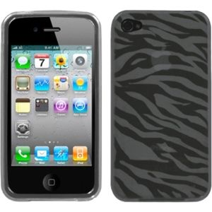 Insten Smoke Zebra Skin Candy Skin Phone Case Cover for Apple iPhone 4/ 4S, #1111028