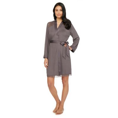 B by Ted Baker Grey lace sateen dressing gown | Debenhams