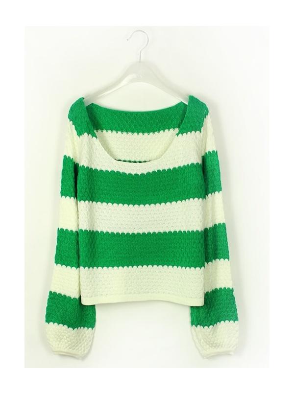 cyan collarless long sleeve Wide stripe knit sweater -