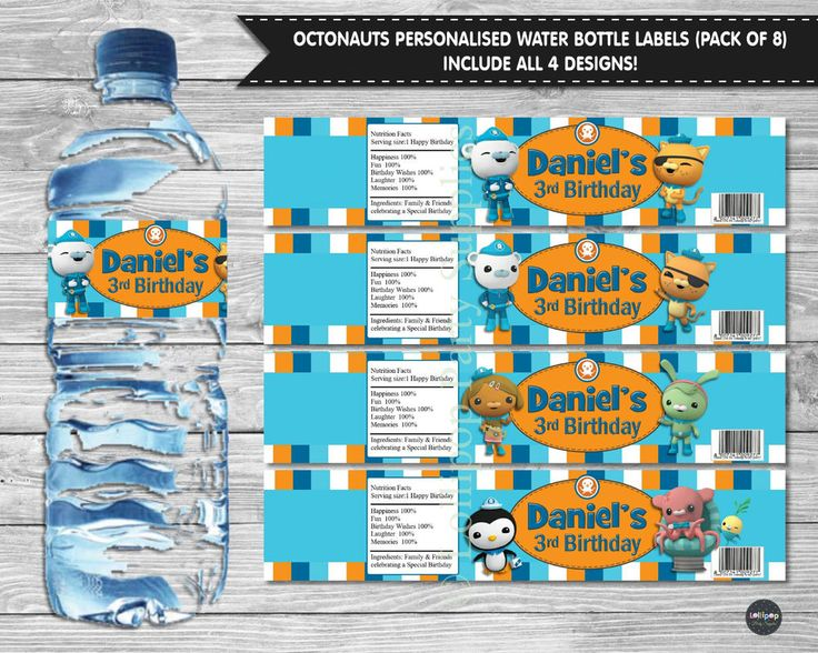 8x OCTONAUTS PEEL AND STICK WATER BOTTLE LABELS STICKERS BIRTHDAY PARTY SUPPLIE  #Personalisedwaterbottlelabels #BirthdayParty