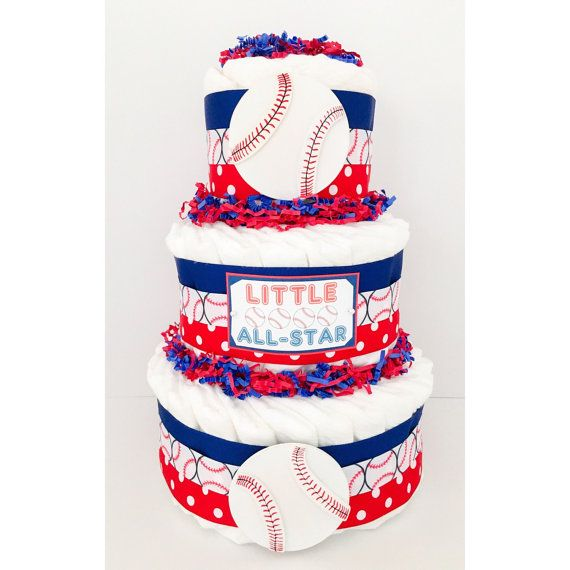Diaper Cake For Boys - Baseball Diaper Cake - Sports Diaper Cake - Baseball Diaper Centerpiece - Baby Shower Centerpiece