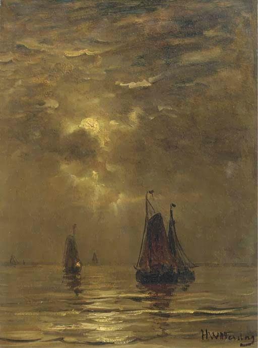 Bomschuiten setting out by moonlight, Hendrik Willem Mesdag. Dutch (1931 - 1915)