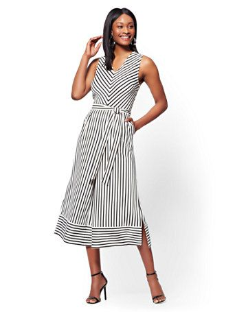 3814f73e27d2 Shop Belted Wide-Leg Jumpsuit - Black & White Stripe. Find your perfect  size online at the best price at New York & Company.
