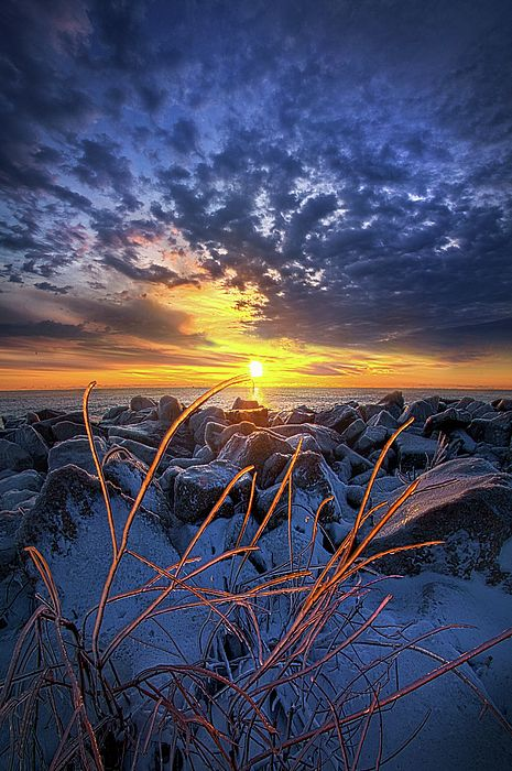 Sunrise on the shore of Lake Michigan in Wisconsin by Phil Koch