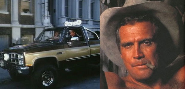 The famous Fall Guy truck, and Lee Majors as the guy himself, Colt Seavers.