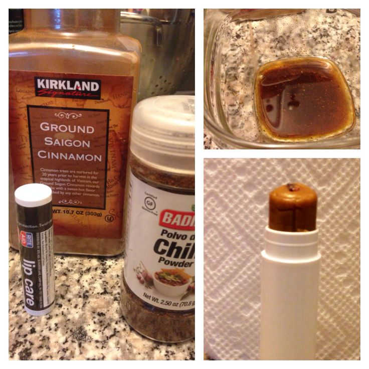 DIY Lip plumper. So easy and inexpensive! Remove Chapstick from tube into glass bowl. Add between 1/8 and 1/4 tsp cinnamon and chili powder, and 10 drops peppermint oil if you have. Melt in microwave or double-boiler. Cool a bit then spoon or pour back into tube. I can't believe how easy this was! I made two - one for home and one for my pocketbook. Will try adding vanilla extract next time. Any other ideas? Enjoy!
